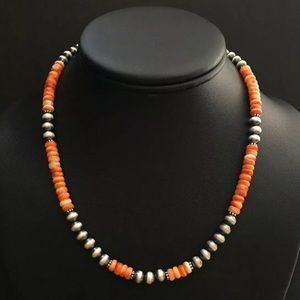 838cd324c Jewelry - S.S. Orange Spiny Oyster W Navajo Pearls Necklace
